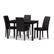 Baxton Studio Lorelle Modern and Contemporary Brown Faux Leather Upholstered 5-Piece Dining Set Baxton Studio restaurant furniture, hotel furniture, commercial furniture, wholesale dining room furniture, wholesale dining set, classic dining sets