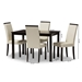 Baxton Studio Daveney Modern and Contemporary Cream Faux Leather Upholstered 5-Piece Dining Set - IELW120-Cream-DC/LW12758R53-5PC-Dining Set