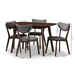 Baxton Studio Hadrea Mid-century Modern Walnut-Finished Dark Grey Fabric Upholstered 5-Piece Dining Set - IELWM12758HL35LW35-Walnut/Dark Grey-5PC-Dining Set