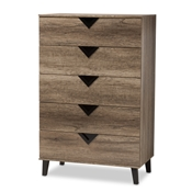 Baxton Studio Wales Modern and Contemporary Light Brown Wood 5-Drawer Chest Baxton Studio restaurant furniture, hotel furniture, commercial furniture, wholesale bedroom furniture, wholesale dresser, classic dressers