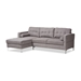 Baxton Studio Mireille Modern and Contemporary Light Grey Fabric Upholstered Sectional Sofa - IER7860-Light Gray-LFC