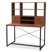 Baxton Studio Edwin Rustic Industrial Style Brown Wood and Metal 2-in-1 Bookcase Writing Desk Baxton Studio restaurant furniture, hotel furniture, commercial furniture, wholesale home office furniture, wholesale desks, classic desks