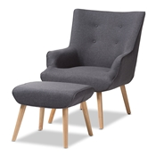 Baxton Studio Alden Mid-Century Modern Dark Grey Fabric Upholstered Natural Finished Wood Lounge Chair and Ottoman Set Baxton Studio restaurant furniture, hotel furniture, commercial furniture, wholesale living room furniture, wholesale chair and ottoman set, classic chair and ottoman set