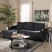 Baxton Studio Lianna Modern and Contemporary Dark Grey Fabric Upholstered Sectional Sofa - IER8068-Dark Grey-Rev-SF