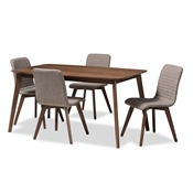 Baxton Studio Sugar Mid-Century Modern Light Grey Fabric Upholstered Walnut Wood Finished 5-Piece Dining Set Baxton Studio restaurant furniture, hotel furniture, commercial furniture, wholesale dining furniture, wholesale dining set, classic dining sets