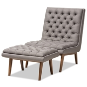 Baxton Studio Annetha Mid-Century Modern Grey Fabric Upholstered Walnut Finished Wood Chair And Ottoman Set Baxton Studio restaurant furniture, hotel furniture, commercial furniture, wholesale living room furniture, wholesale living room set, classic living room sets