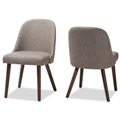 Baxton Studio Cody Mid-Century Modern Light Grey Fabric Upholstered Walnut Finished Wood Dining Chair (Set of 2) Baxton Studio restaurant furniture, hotel furniture, commercial furniture, wholesale dining furniture, wholesale chair, classic dining chairs