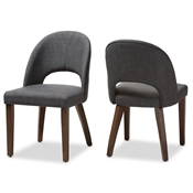 Baxton Studio Wesley Mid-Century Modern Dark Grey Fabric Upholstered Walnut Finished Wood Dining Chair (Set of 2) Baxton Studio restaurant furniture, hotel furniture, commercial furniture, wholesale dining furniture, wholesale chair, classic dining chairs
