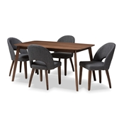 Baxton Studio Wesley Mid-Century Modern Dark Grey Fabric Upholstered Walnut Finished Wood 5-Piece Dining Set Baxton Studio restaurant furniture, hotel furniture, commercial furniture, wholesale dining furniture, wholesale dining set, classic dining sets