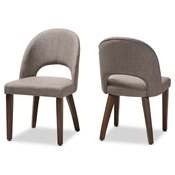 Baxton Studio Wesley Mid-Century Modern Light Grey Fabric Upholstered Walnut Finished Wood Dining Chair (Set of 2) Baxton Studio restaurant furniture, hotel furniture, commercial furniture, wholesale dining furniture, wholesale chair, classic dining chairs