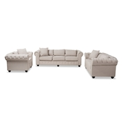 Baxton Studio Alaise Modern Classic Beige Linen Tufted Scroll Arm Chesterfield 3-Piece Living Room Set Baxton Studio restaurant furniture, hotel furniture, commercial furniture, wholesale living room furniture, wholesale living room set, classic living room sets