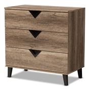 Baxton Studio Wales Modern And Contemporary Light Brown Wood 3-Drawer Chest Baxton Studio restaurant furniture, hotel furniture, commercial furniture, wholesale bedroom furniture, wholesale chest, classic chests