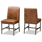 Baxton Studio Margaux Modern Luxe Light Brown Faux Leather Upholstered Dining Chair (Set of 2) Baxton Studio restaurant furniture, hotel furniture, commercial furniture, wholesale dining furniture, wholesale chair, classic dining chairs