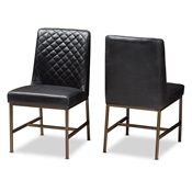 Baxton Studio Margaux Modern Luxe Black Faux Leather Upholstered Dining Chair (Set of 2) Baxton Studio restaurant furniture, hotel furniture, commercial furniture, wholesale dining furniture, wholesale chair, classic dining chairs