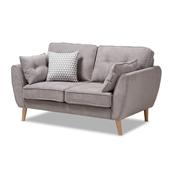 Baxton Studio Miranda Mid-Century Modern Light Grey Fabric Upholstered Loveseat Baxton Studio restaurant furniture, hotel furniture, commercial furniture, wholesale living room furniture, wholesale living room set, classic living room sets