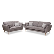Baxton Studio Miranda Mid-Century Modern Light Grey Fabric Upholstered 2-Piece Living Room Set Baxton Studio restaurant furniture, hotel furniture, commercial furniture, wholesale living room furniture, wholesale living room set, classic living room sets