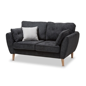 Baxton Studio Miranda Mid-Century Modern Dark Grey Fabric Upholstered Loveseat Baxton Studio restaurant furniture, hotel furniture, commercial furniture, wholesale living room furniture, wholesale living room set, classic living room sets