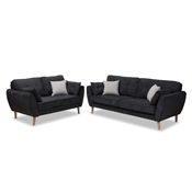 Baxton Studio Miranda Mid-Century Modern Dark Grey Fabric Upholstered 2-Piece Living Room Set Baxton Studio restaurant furniture, hotel furniture, commercial furniture, wholesale living room furniture, wholesale living room set, classic living room sets