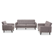 Baxton Studio Carina Mid-Century Modern Light Grey Fabric Upholstered 3-Piece Living Room Set Baxton Studio restaurant furniture, hotel furniture, commercial furniture, wholesale living room furniture, wholesale living room set, classic living room sets