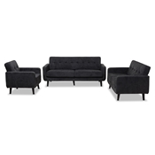Baxton Studio Carina Mid-Century Modern Dark Grey Fabric Upholstered 3-Piece Living Room Set Baxton Studio restaurant furniture, hotel furniture, commercial furniture, wholesale living room furniture, wholesale living room set, classic living room sets