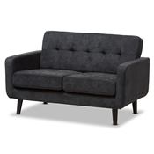 Baxton Studio Carina Mid-Century Modern Dark Grey Fabric Upholstered Loveseat Baxton Studio restaurant furniture, hotel furniture, commercial furniture, wholesale living room furniture, wholesale living room set, classic living room sets