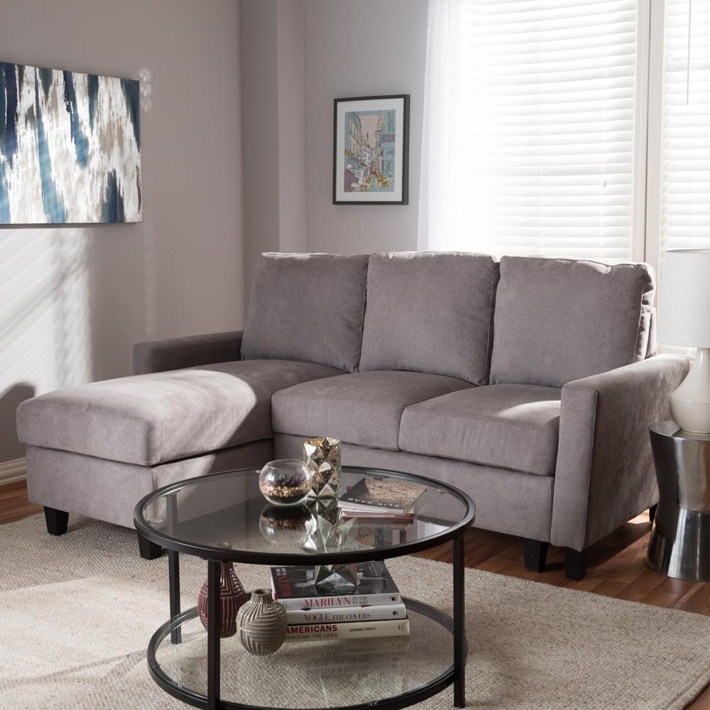 Sectional Sofa Grey Baxton Studio: Baxton Studio Greyson Modern And Contemporary Light Grey