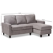Baxton Studio Greyson Modern And Contemporary Light Grey Fabric Upholstered Reversible Sectional Sofa - IER9002-Light Grey-Rev-SF