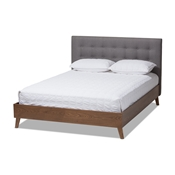 Baxton Studio Alinia Mid-century Retro Modern Grey Fabric Upholstered Walnut Wood King Size Platform Bed Baxton Studio restaurant furniture, hotel furniture, commercial furniture, wholesale bedroom furniture, wholesale bed, classic king bed