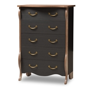 Baxton Studio Romilly Country Cottage Farmhouse Black and Oak-Finished Wood 5-Drawer Chest Baxton Studio restaurant furniture, hotel furniture, commercial furniture, wholesale bedroom furniture, wholesale chest, classic chest