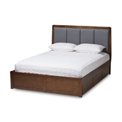 Baxton Studio Brannigan Modern and Contemporary Dark Grey Fabric Upholstered Walnut Finished King Size Storage Platform Bed Baxton Studio restaurant furniture, hotel furniture, commercial furniture, wholesale bedroom furniture, wholesale bed, classic king bed