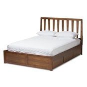 Baxton Studio Raurey Modern and Contemporary Walnut Finished King Size Storage Platform Bed Baxton Studio restaurant furniture, hotel furniture, commercial furniture, wholesale bedroom furniture, wholesale bed, classic king bed