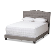 Baxton Studio Vivienne Modern and Contemporary Light Grey Fabric Upholstered King Size Bed Baxton Studio restaurant furniture, hotel furniture, commercial furniture, wholesale bedroom furniture, wholesale bed, classic king bed
