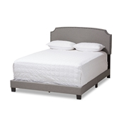 Baxton Studio Odette Modern and Contemporary Light Grey Fabric Upholstered King Size Bed Baxton Studio restaurant furniture, hotel furniture, commercial furniture, wholesale bedroom furniture, wholesale bed, classic king bed