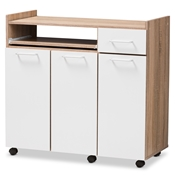 Baxton Studio Charmain Modern and Contemporary Light Oak and White Finish Kitchen Cabinet Baxton Studio restaurant furniture, hotel furniture, commercial furniture, wholesale kitchen furniture, wholesale storage, classic kitchen cabinet