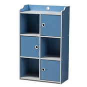 Baxton Studio Aeluin Contemporary Childrens Blue and White Finished 3-Door Bookcase