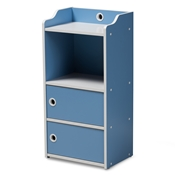 Baxton Studio Aeluin Contemporary Childrens Blue and White Finished 2-Door Bookcase
