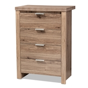 Baxton Studio Laverne Modern and Contemporary Oak Brown Finished 4-Drawer Chest Baxton Studio restaurant furniture, hotel furniture, commercial furniture, wholesale bedroom furniture, wholesale chest, classic chest