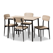 Baxton Studio Honore Mid-Century Modern Light Brown Wood Finished Matte Black Frame 5-Piece Dining Set Baxton Studio restaurant furniture, hotel furniture, commercial furniture, wholesale dining furniture, wholesale dining set, classic dining sets