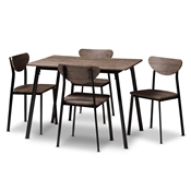 Baxton Studio Ornette Mid-Century Modern Matte Black Frame 5-Piece Dining Set Baxton Studio restaurant furniture, hotel furniture, commercial furniture, wholesale dining furniture, wholesale dining set, classic dining sets