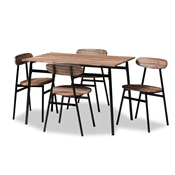 Baxton Studio Darcia Rustic and Industrial Brown Wood Finished Matte Black Frame 5-Piece Dining Set Baxton Studio restaurant furniture, hotel furniture, commercial furniture, wholesale dining furniture, wholesale dining set, classic dining sets