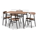 Baxton Studio Darcia Rustic and Industrial Brown Wood Finished Matte Black Frame 5-Piece Dining Set - IED01222-Rustic-5PC-Dining Set