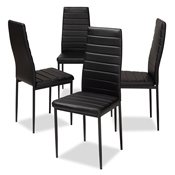 Baxton Studio Armand Modern and Contemporary Black Faux Leather Upholstered Dining Chair (Set of 4) Baxton Studio restaurant furniture, hotel furniture, commercial furniture, wholesale dining furniture, wholesale chair, classic dining chairs