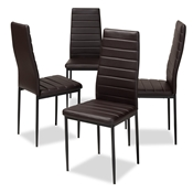 Baxton Studio Armand Modern and Contemporary Brown Faux Leather Upholstered Dining Chair (Set of 4) Baxton Studio restaurant furniture, hotel furniture, commercial furniture, wholesale dining furniture, wholesale chair, classic dining chairs