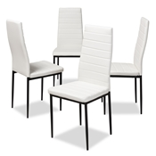 Baxton Studio Armand Modern and Contemporary White Faux Leather Upholstered Dining Chair (Set of 4) Baxton Studio restaurant furniture, hotel furniture, commercial furniture, wholesale dining furniture, wholesale chair, classic dining chairs