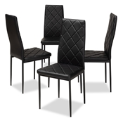 Baxton Studio Blaise Modern and Contemporary Black Faux Leather Upholstered Dining Chair (Set of 4) Baxton Studio restaurant furniture, hotel furniture, commercial furniture, wholesale dining furniture, wholesale chair, classic dining chairs