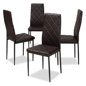 Baxton Studio Blaise Modern and Contemporary Brown Faux Leather Upholstered Dining Chair (Set of 4) Baxton Studio restaurant furniture, hotel furniture, commercial furniture, wholesale dining furniture, wholesale chair, classic dining chairs