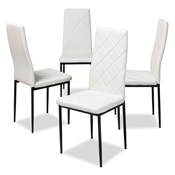 Baxton Studio Blaise Modern and Contemporary White Faux Leather Upholstered Dining Chair (Set of 4) Baxton Studio restaurant furniture, hotel furniture, commercial furniture, wholesale dining furniture, wholesale chair, classic dining chairs