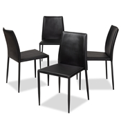 Baxton Studio Pascha Modern and Contemporary Black Faux Leather Upholstered Dining Chair (Set of 4) Baxton Studio restaurant furniture, hotel furniture, commercial furniture, wholesale dining furniture, wholesale chair, classic dining chairs