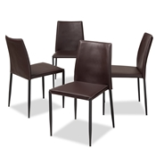 Baxton Studio Pascha Modern and Contemporary Brown Faux Leather Upholstered Dining Chair (Set of 4) Baxton Studio restaurant furniture, hotel furniture, commercial furniture, wholesale dining furniture, wholesale chair, classic dining chairs