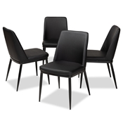 Baxton Studio Darcell Modern and Contemporary Black Faux Leather Upholstered Dining Chair (Set of 4) Baxton Studio restaurant furniture, hotel furniture, commercial furniture, wholesale dining furniture, wholesale chair, classic dining chairs